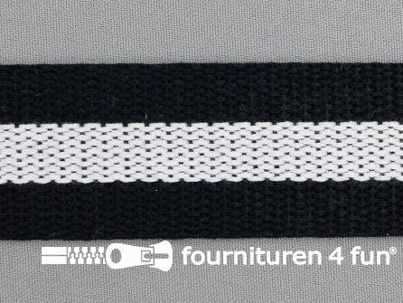 Gestreept tassenband 38mm zwart - wit