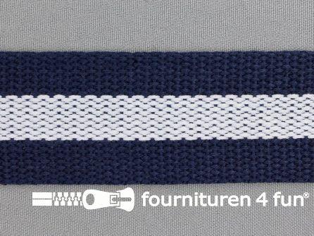 Gestreept tassenband 38mm marine blauw - wit