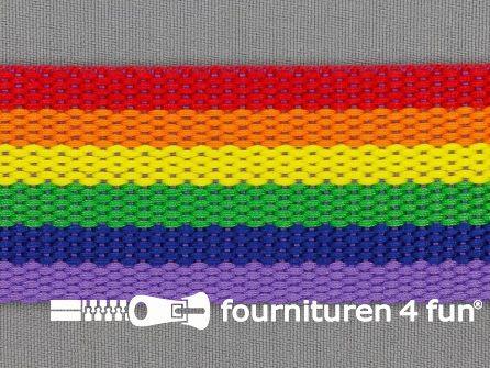 Gestreept tassenband 40mm regenboog