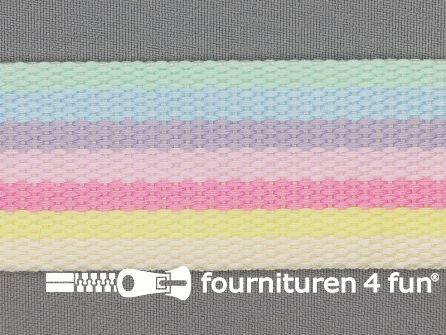 Gestreept tassenband 40mm pastelkleuren