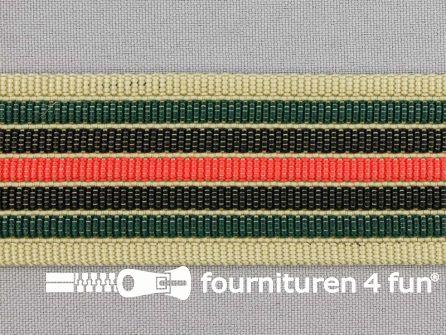 Gestreept tassenband 38mm beige - rood - donker groen - zwart