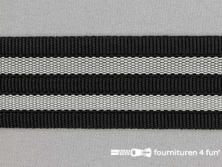 Gestreept tassenband 38mm zwart - grijs