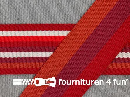 Gestreept dubbelzijdig tassenband 40mm rood