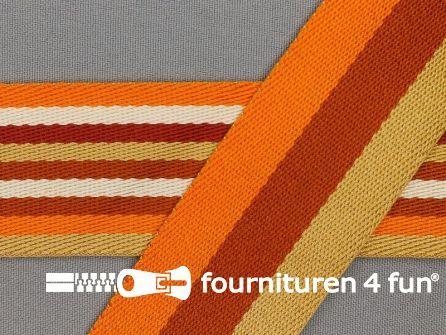 Gestreept dubbelzijdig tassenband 40mm oranje