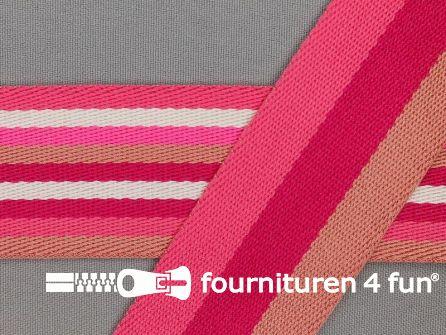 Gestreept dubbelzijdig tassenband 40mm roze