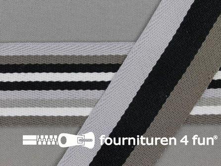 Gestreept dubbelzijdig tassenband 40mm grijs