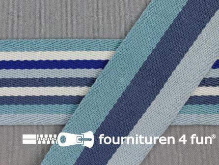 Gestreept dubbelzijdig tassenband 40mm blauw