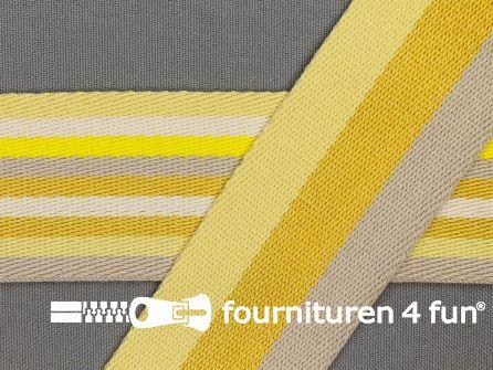 Gestreept dubbelzijdig tassenband 40mm geel