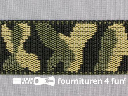 Geweven halsband camouflage 50mm groen