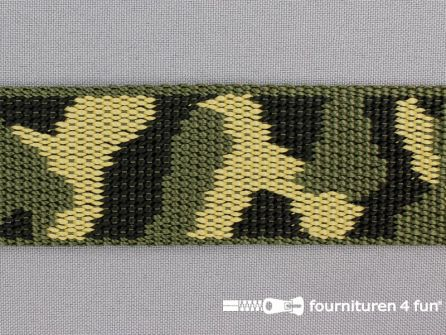 Geweven halsband camouflage 40mm groen