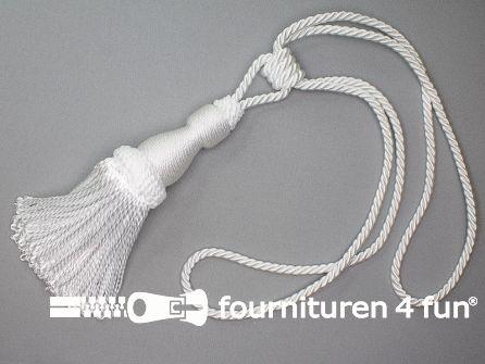 Viscose gordijnkwast 210mm met koord wit