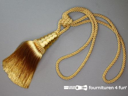 Gordijnkwast 200mm met koord goud geel