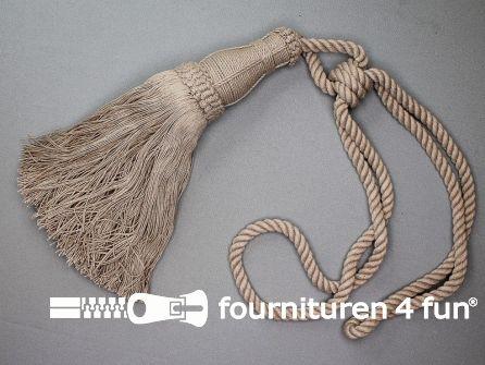Katoenen gordijnkwast 260mm met koord toupe beige