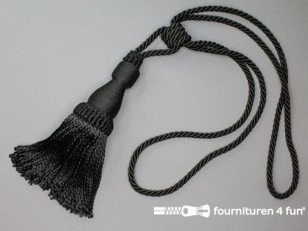 Viscose gordijnkwast 210mm met koord zwart