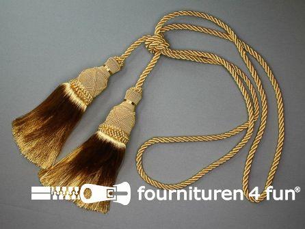 Gordijnkwast dubbel 210mm met koord goud geel