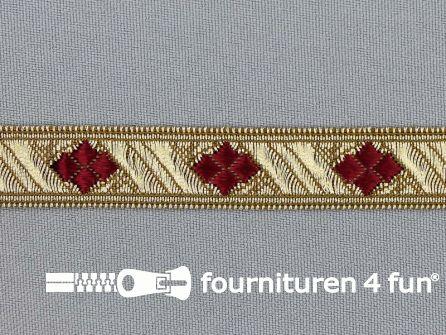 Sinterklaasband 14mm goud - bordeaux rood