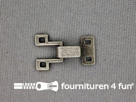 Haken en ogen 20x12mm antiek zilver