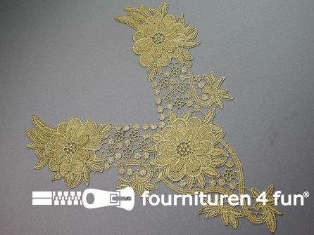 Opzet stuk voor hals / kraag bloem goud 320x360mm