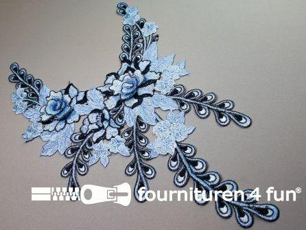 Opzet stuk voor hals / kraag  450x280mm aqua blauw