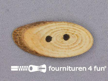 Houten knoop ovaal circa 45x20mm