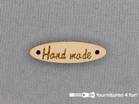 10 stuks houten label 'Handmade' 28x8mm