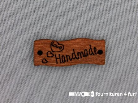10 stuks houten label 'Handmade' 29x10mm