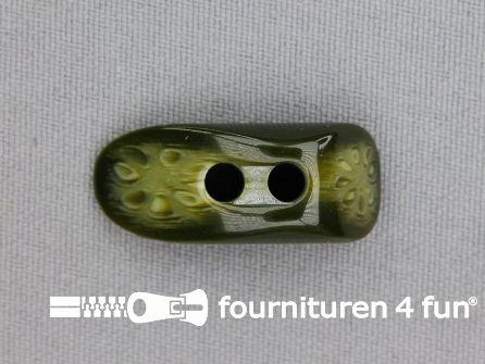 Houtje touwtje knoop 30mm kunststof olijf groen