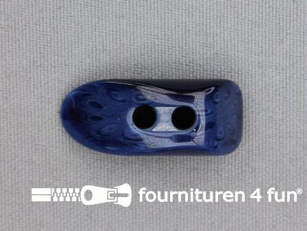 Houtje touwtje knoop 30mm kunststof marine blauw