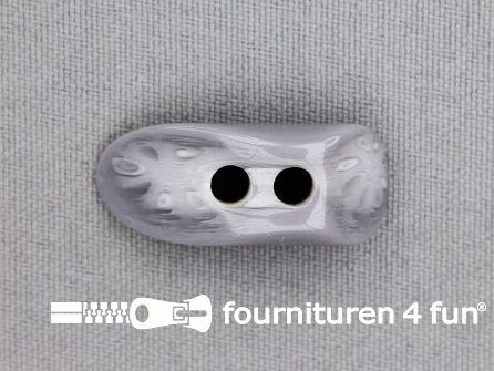 Houtje touwtje knoop 30mm kunststof grijs