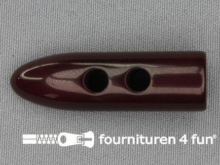 Houtje touwtje knoop 50mm kunststof bordeaux rood