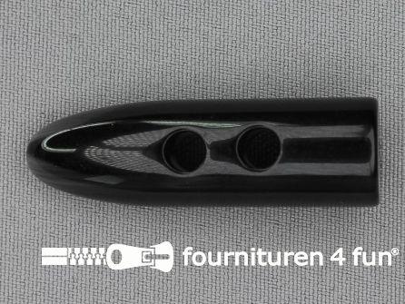 Houtje touwtje knoop 50mm kunststof zwart