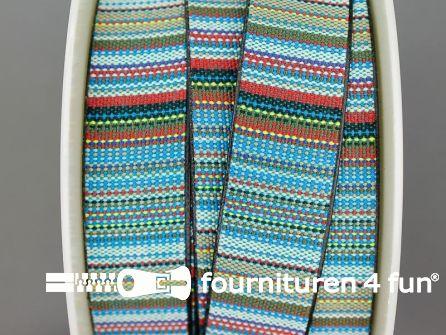 Ibiza tassenband 25mm blauw rood beige