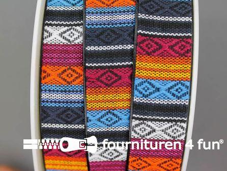 Ibiza tassenband 25mm oranje blauw bordeaux