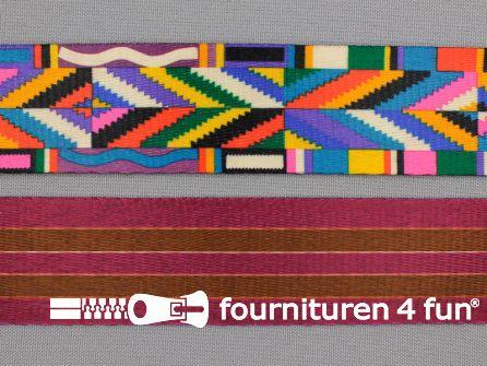 Vintage tassenband 37mm multicolor - aan beide zijden ander motief