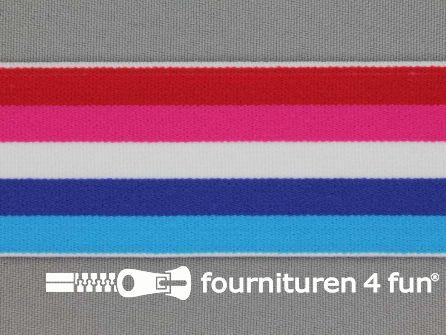 Elastiek strepen 40mm rood roze blauw