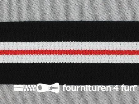 Elastiek gestreept 40mm zwart wit rood