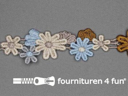 Bloemenkant 30mm beige blauw grijs