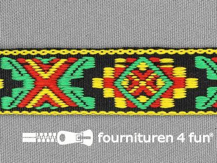Indianenband 21mm geel-groen-rood-zwart
