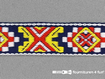 Indianenband 21mm geel-marine-rood