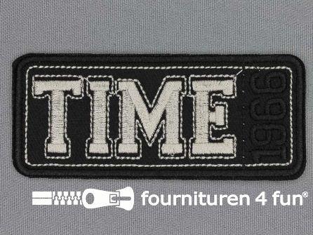 Applicatie 86x37mm Time 1966 zwart zilver