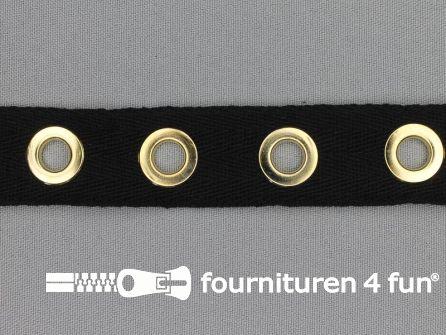 Ogenband 25mm zwart goud