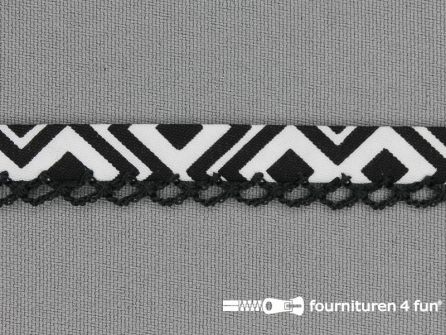 Deco biasband print 12mm zwart wit