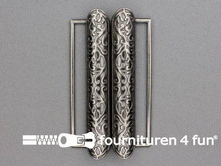 Inhaakgesp 80mm oud zilver