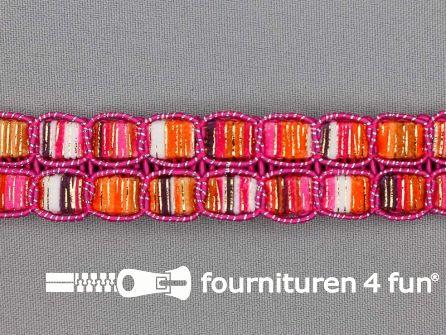 Jacquard band 24mm multicolor fuchsia