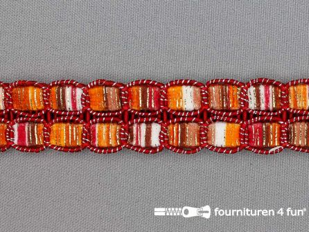 Jacquard band 24mm multicolor rood