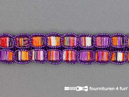 Jacquard band 24mm multicolor paars
