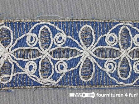 Jacquard band 55mm goud - zilver - wit - jeans blauw