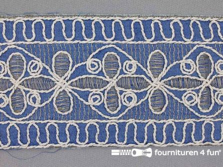 Jacquard band 90mm goud - zilver - wit - jeans blauw