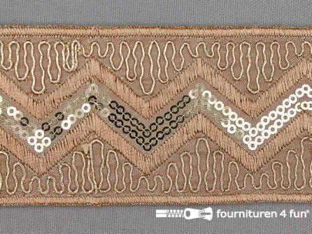 Jacquard band 55mm lever bruin - goud