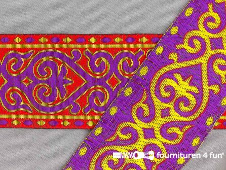 Jacquard band 50mm rood - paars - dubbelzijdig